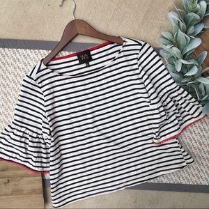 Anthropologie W5 White/Navy Striped Blouse